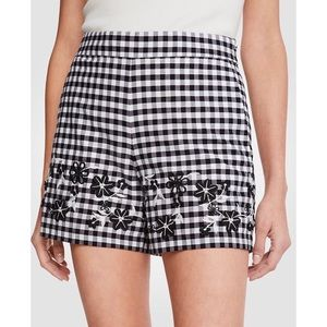 Ann Taylor Gingham Plaid Embroidered Shorts